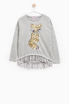 Viscose sweatshirt with sequins and lace, Light Grey, hi-res