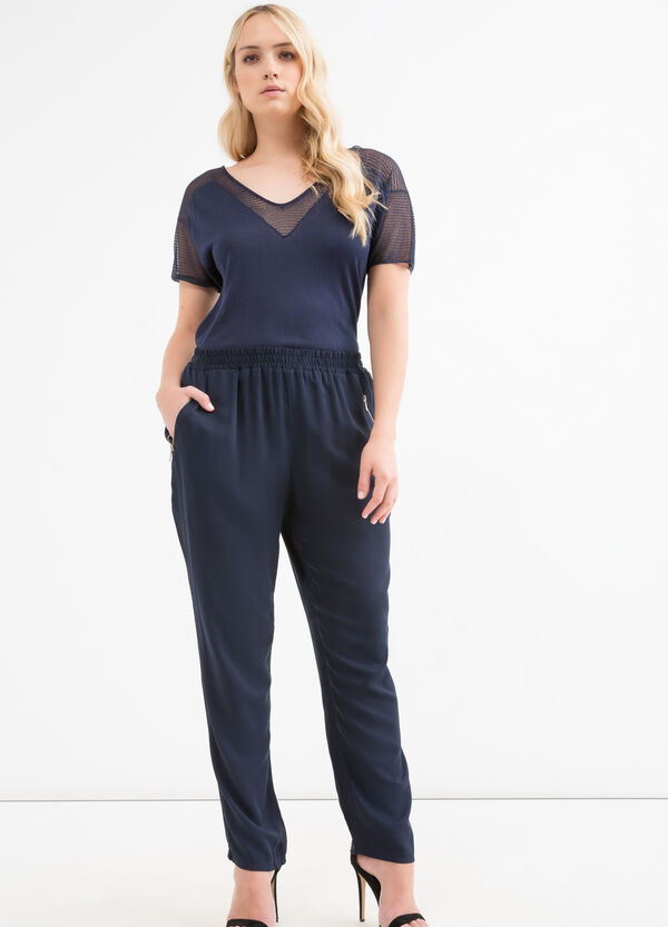 Curvy solid colour viscose trousers | OVS