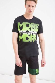 T-shirt sportiva puro cotone stampa, Nero, hi-res