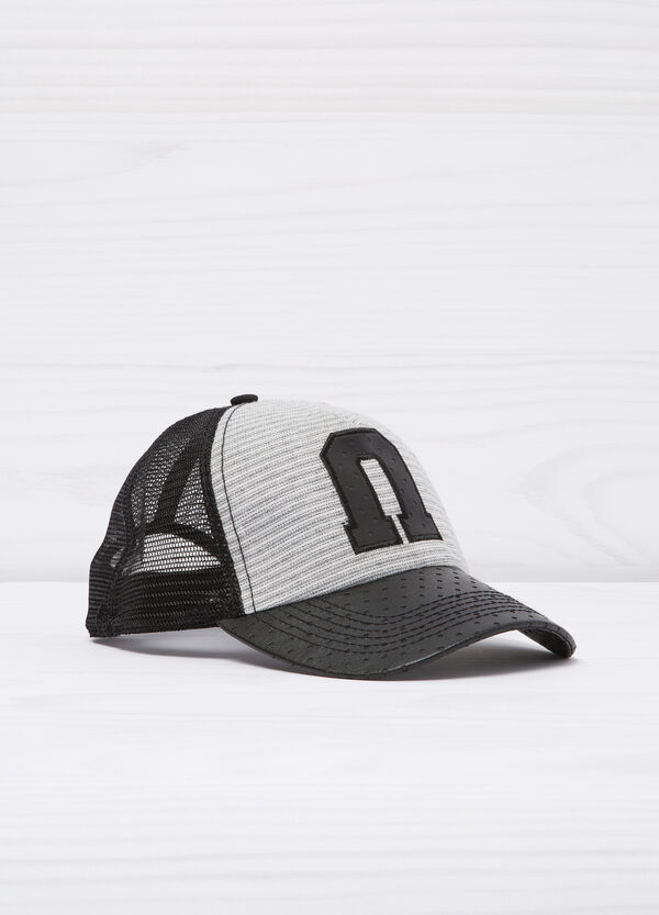 Baseball cap with leather look inserts | OVS