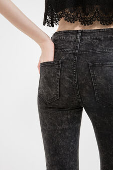 Misdyed-effect jeans with zip, Black, hi-res