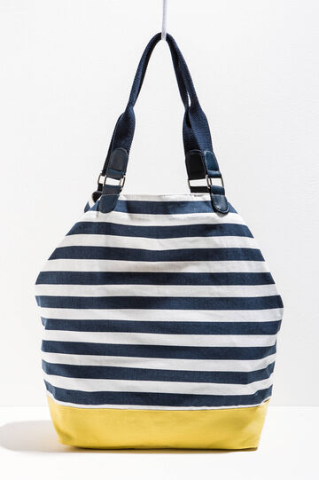 Beach bag in striped cotton
