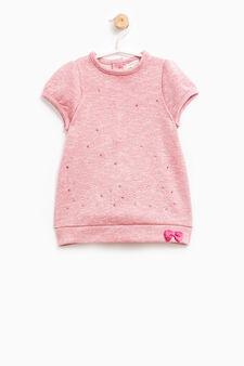 Cotton blend diamanté dress, Dark Pink, hi-res