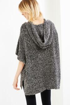 Mélange knit poncho with hood, Black/White, hi-res