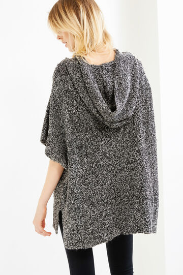 Mélange knit poncho with hood, Black/White, hi-res