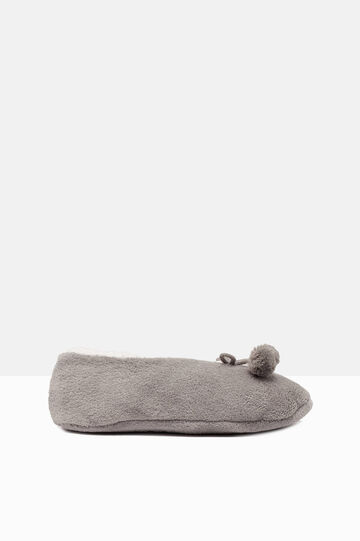 Solid colour slippers with pompoms, Grey, hi-res