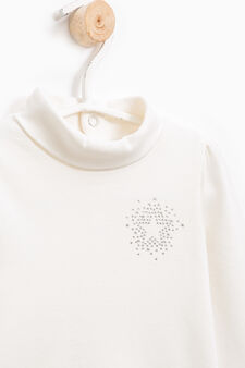 Diamanté T-shirt in 100% cotton, Milky White, hi-res
