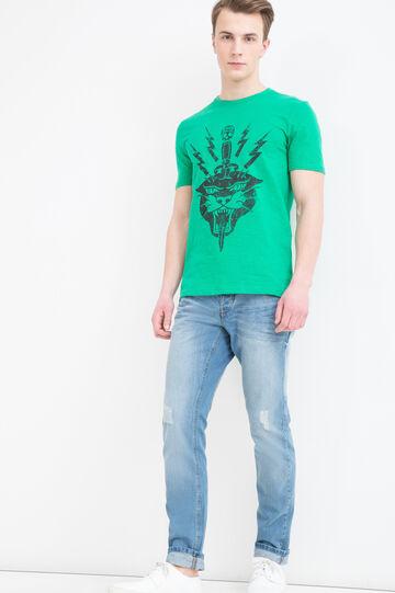 T-shirt puro cotone maxi stampa, Grigio melange, hi-res