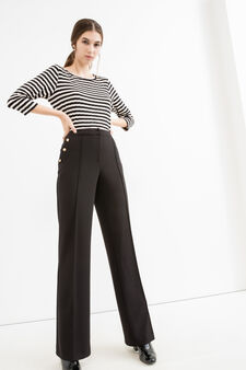 Elegant stretch trousers with high waist, Black, hi-res