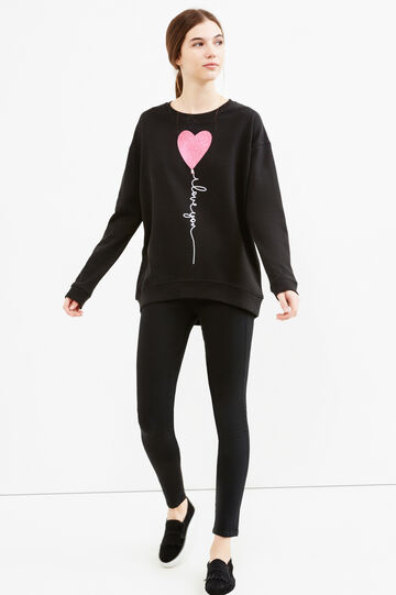 Sweatshirt in cotton with glitter print, Black, hi-res