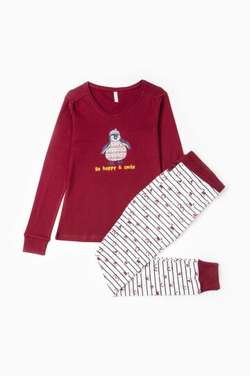Cotton pyjamas with penguin print, Claret Red, hi-res