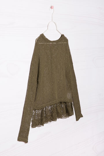 Viscose blend pullover with lace, Army Green, hi-res