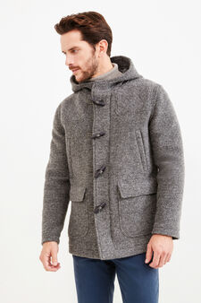 Wool blend Rumford coat with toggles, Grey, hi-res