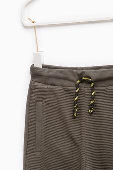 Pantaloni tuta cotone tinta unita, Verde, hi-res