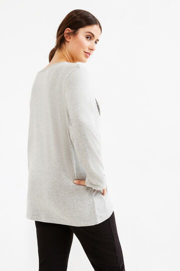 Curvy stretch T-shirt with sequins, Grey Marl, hi-res