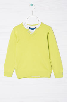 100% cotton faux double pullover, White/Green, hi-res