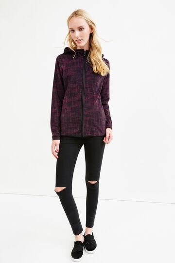 Patterned fleece hoodie, Black/Red, hi-res