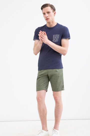 Patterned shorts in 100% cotton, Army Green, hi-res