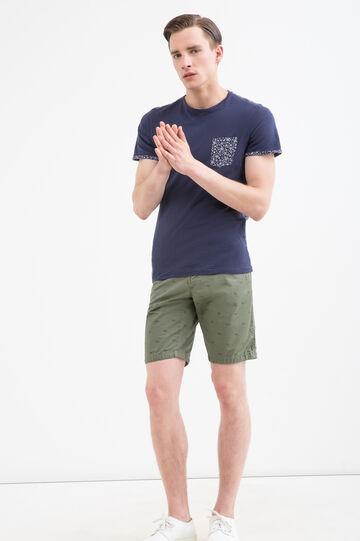 Shorts puro cotone fantasia, Verde militare, hi-res
