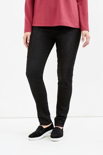 Curvy solid colour stretch jeggings, Black, hi-res