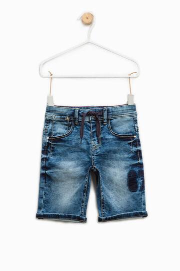 Worn-effect stretch denim Bermuda shorts, Dark Wash, hi-res