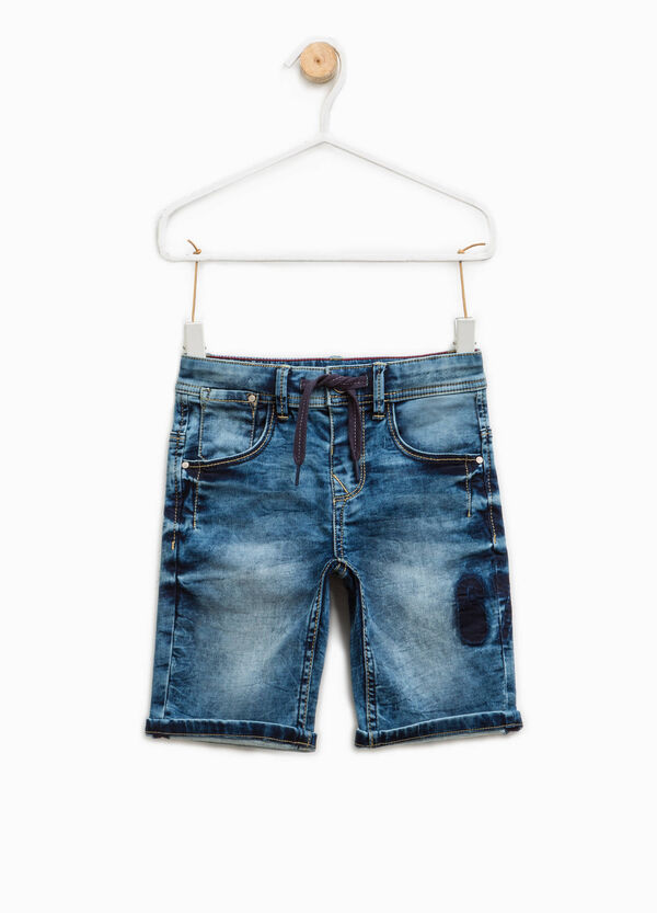 Worn-effect stretch denim Bermuda shorts | OVS