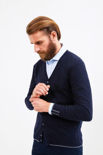 Cardigan Rumford lana e cashmere, Blu navy, hi-res
