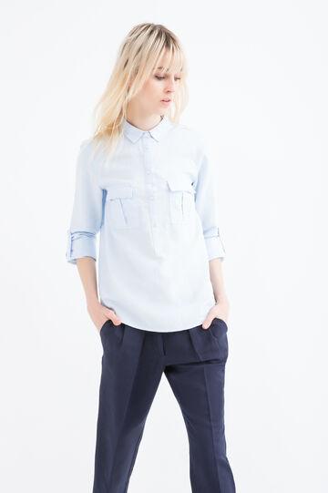 Solid colour linen blend shirt., Soft Blue, hi-res