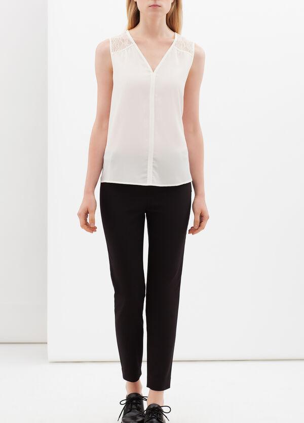 V-neck blouse with lace   OVS