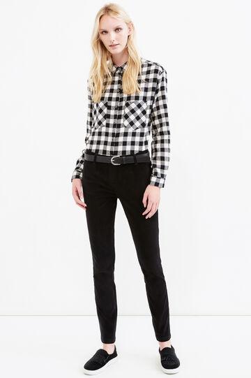 Solid colour stretch velvet trousers, Black, hi-res