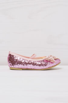 Round toe ballerina flats with glitter, Pink, hi-res