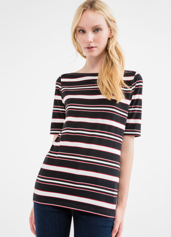 Long striped T-shirt with boat neck | OVS