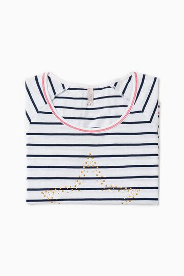 Maglia pigiama strass e righe, Bianco/Blu, hi-res