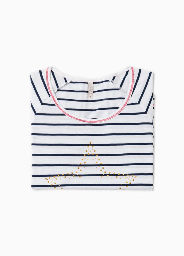 Striped pyjama top with diamantés | OVS