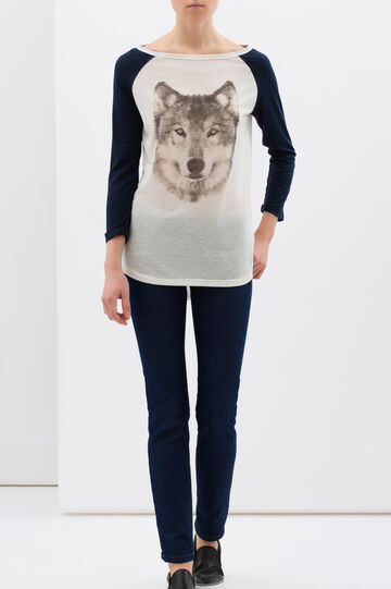 Oversize T-shirt in linen blend, Milky White, hi-res