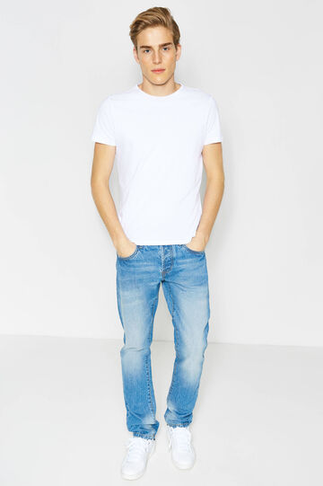 Straight fit, worn-effect jeans with whiskering, Medium Wash, hi-res