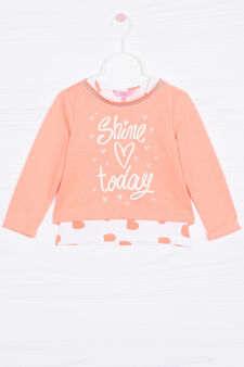 Cotton blend top and sweatshirt set, Neon Orange, hi-res