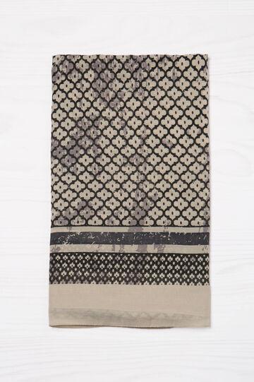 Geometric print scarf, Black, hi-res