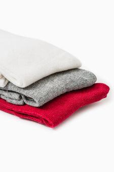 Set tre paia di calze lunghe, Rosso, hi-res
