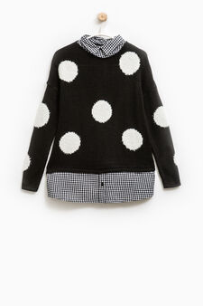 Faux layered pullover with check pattern, White/Black, hi-res