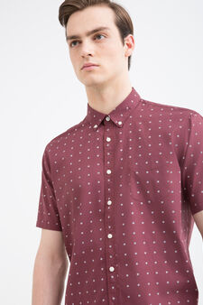 Flower print cotton shirt, Red, hi-res