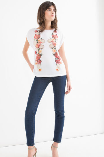 Cotton T-shirt with floral pattern, White, hi-res