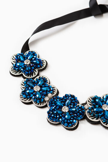 Necklace with flowers and diamantés, Blue, hi-res