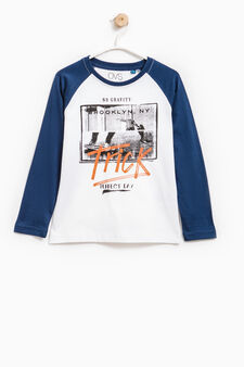 Printed T-shirt with raglan sleeves, White/Blue, hi-res