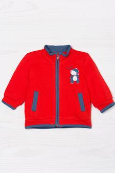 Cardigan puro cotone con zip, Rosso, hi-res