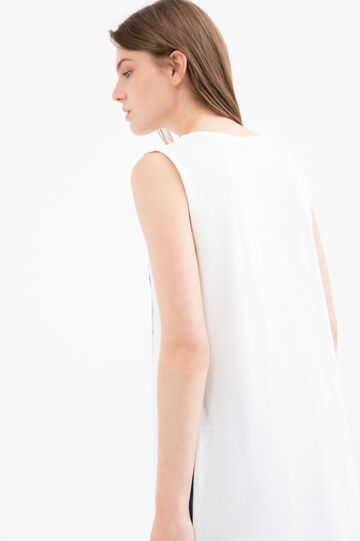 Printed sleeveless T-shirt with slits, Milky White, hi-res