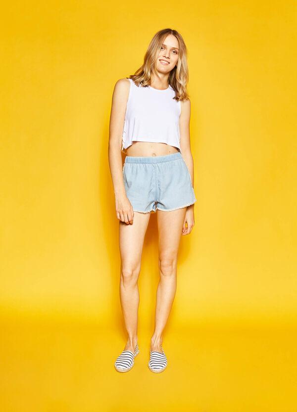 Denim shorts with elasticated waist band | OVS