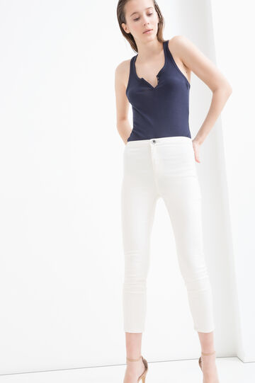 Top misto cotone apertura a V, Blu navy, hi-res