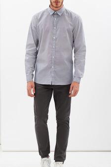 Slim-fit patterned shirt, White/Blue, hi-res
