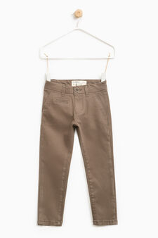 Pantaloni chino stretch tinta unita, Marrone tabacco, hi-res